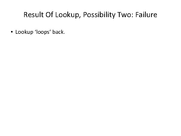 Result Of Lookup, Possibility Two: Failure • Lookup 'loops' back.