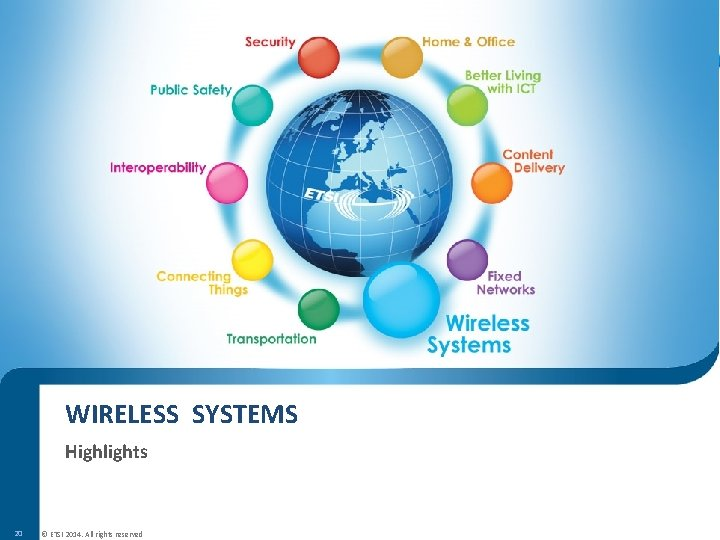WIRELESS SYSTEMS Highlights 20 © ETSI 2014. All rights reserved