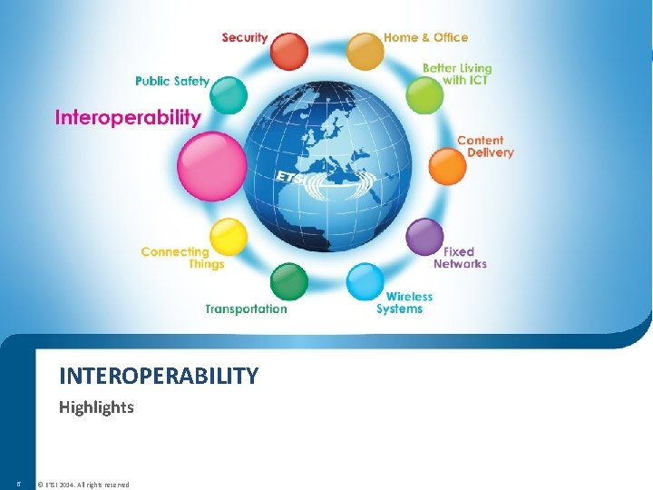 INTEROPERABILITY Highlights 6 © ETSI 2014. All rights reserved