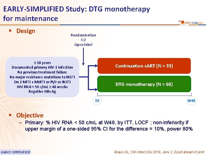 EARLY-SIMPLIFIED Study: DTG monotherapy for maintenance § Design Randomisation 1: 2 Open label ≥
