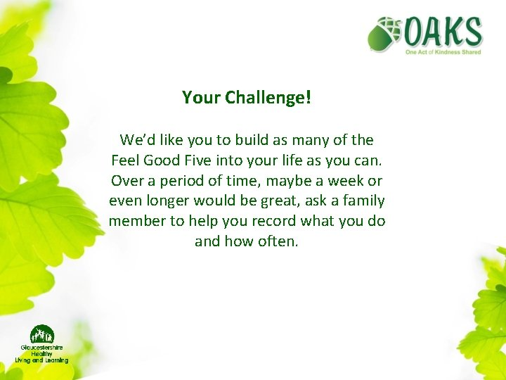 Your Challenge! We'd like you to build as many of the Feel Good Five