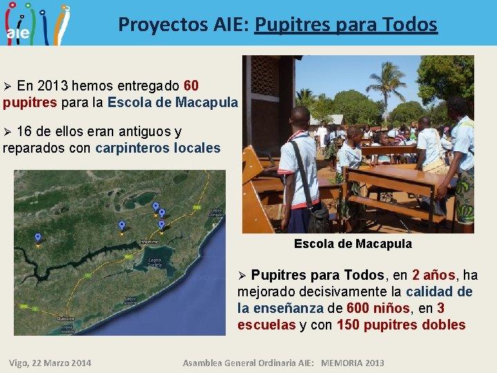 Proyectos AIE: Pupitres para Todos En 2013 hemos entregado 60 pupitres para la Escola