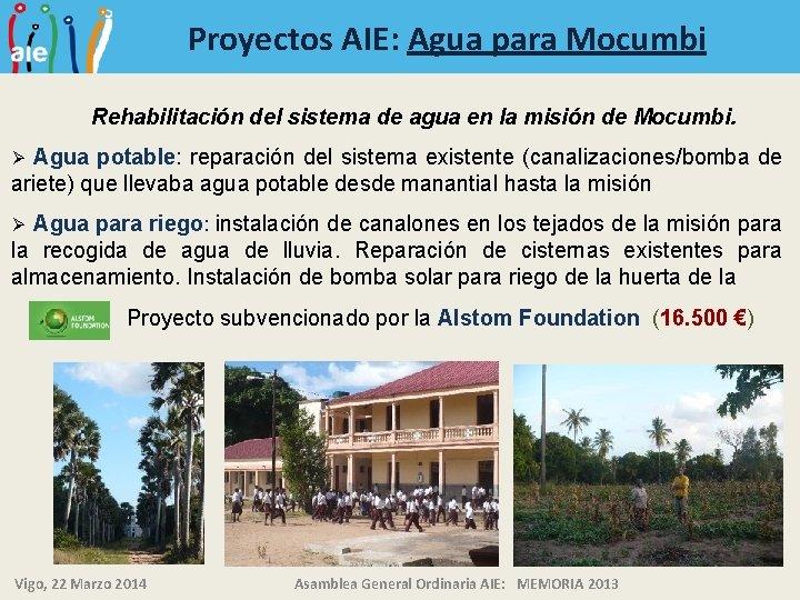 Proyectos AIE: Agua para Mocumbi Rehabilitación del sistema de agua en la misión de