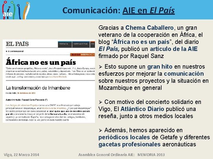 Comunicación: AIE en El País Gracias a Chema Caballero, un gran veterano de la