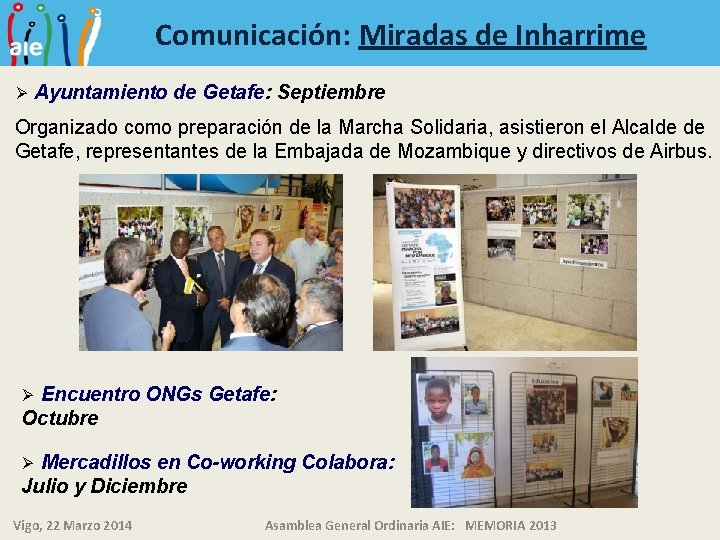 Comunicación: Miradas de Inharrime Ø Ayuntamiento de Getafe: Septiembre Organizado como preparación de la