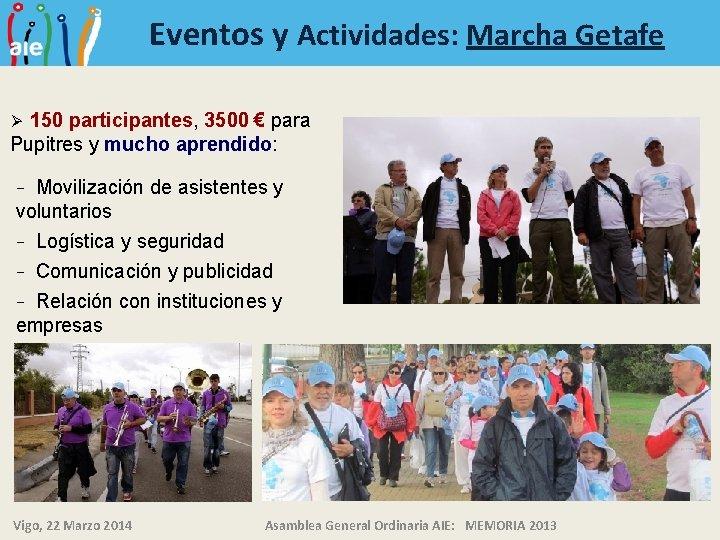 Eventos y Actividades: Marcha Getafe 150 participantes, 3500 € para Pupitres y mucho aprendido: