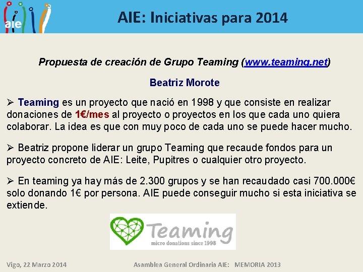 AIE: Iniciativas para 2014 Propuesta de creación de Grupo Teaming (www. teaming. net) Beatriz
