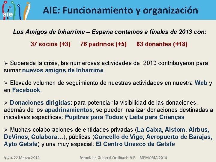AIE: Funcionamiento y organización Los Amigos de Inharrime – España contamos a finales de
