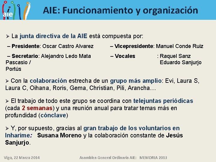 AIE: Funcionamiento y organización Ø La junta directiva de la AIE está compuesta por: