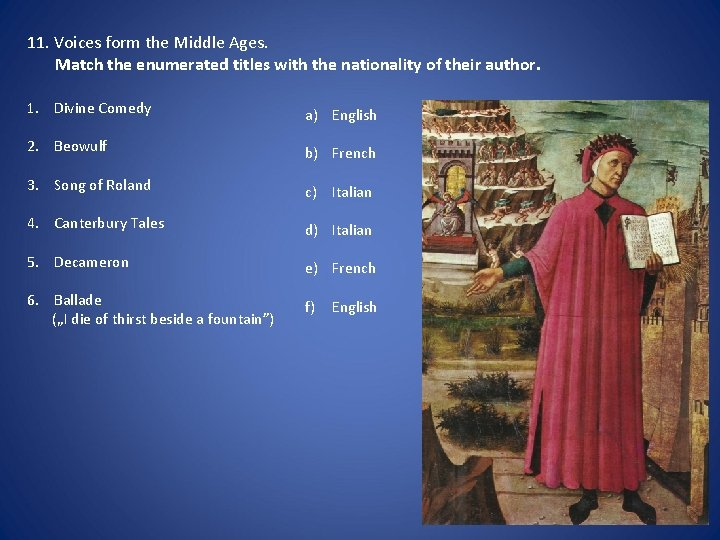 11. Voices form the Middle Ages. Match the enumerated titles with the nationality of