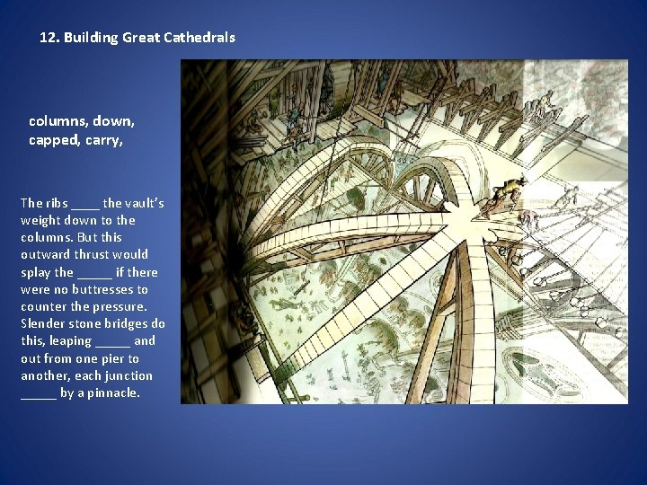 12. Building Great Cathedrals columns, down, capped, carry, The ribs ____ the vault's weight