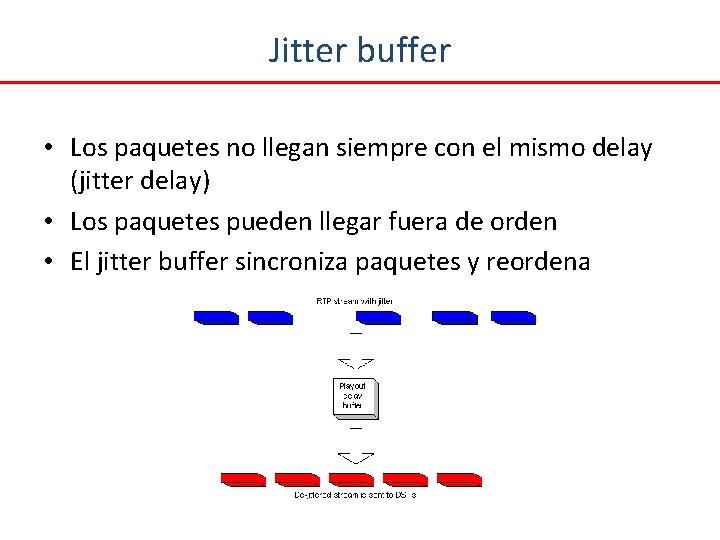 Jitter buffer • Los paquetes no llegan siempre con el mismo delay (jitter delay)
