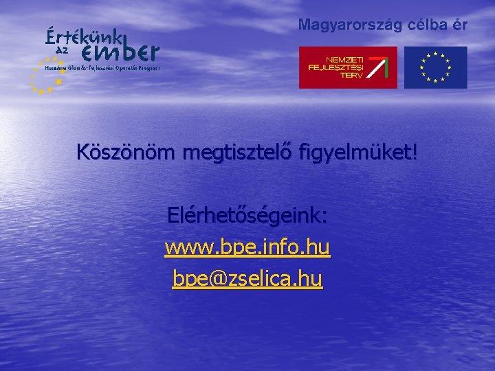 Köszönöm megtisztelő figyelmüket! Elérhetőségeink: www. bpe. info. hu bpe@zselica. hu