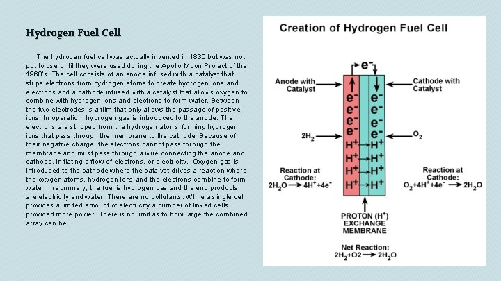 Hydrogen Fuel Cell The hydrogen fuel cell was actually invented in 1836 but was