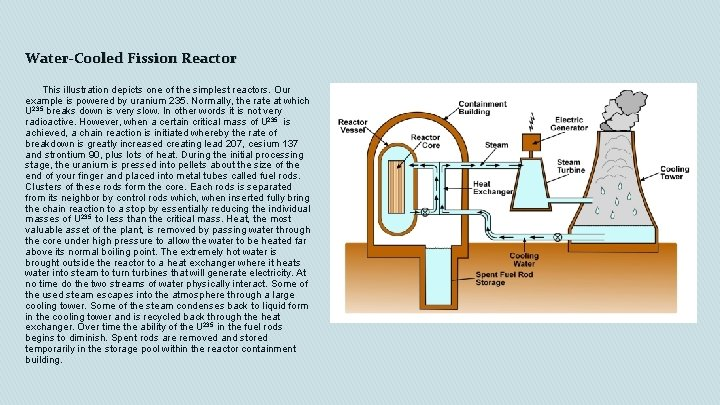 Water-Cooled Fission Reactor This illustration depicts one of the simplest reactors. Our example is