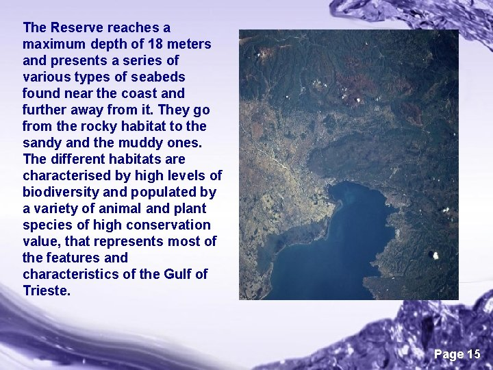 The Reserve reaches a maximum depth of 18 meters and presents a series of