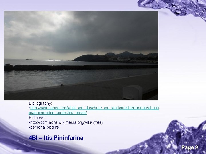 Bibliography: • http: //wwf. panda. org/what_we_do/where_we_work/mediterranean/about/ marine/marine_protected_areas/ Pictures: • http: //commons. wikimedia. org/wiki/ (free)