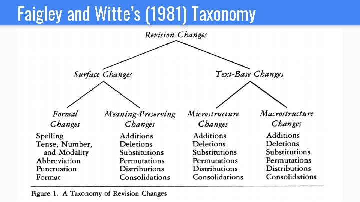 Faigley and Witte's (1981) Taxonomy