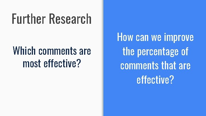 Further Research Which comments are most effective? How can we improve the percentage of