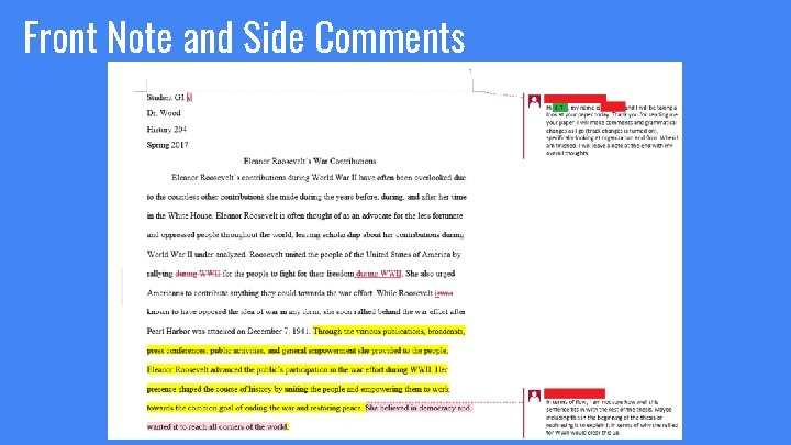 Front Note and Side Comments