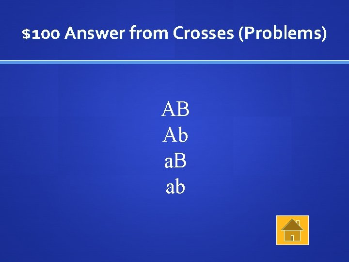 $100 Answer from Crosses (Problems) AB Ab a. B ab