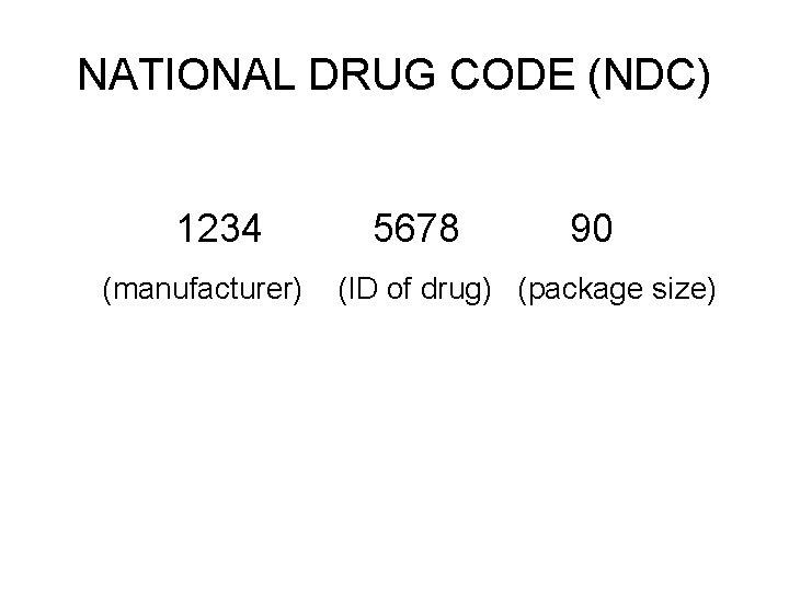 NATIONAL DRUG CODE (NDC) 1234 (manufacturer) 5678 90 (ID of drug) (package size)