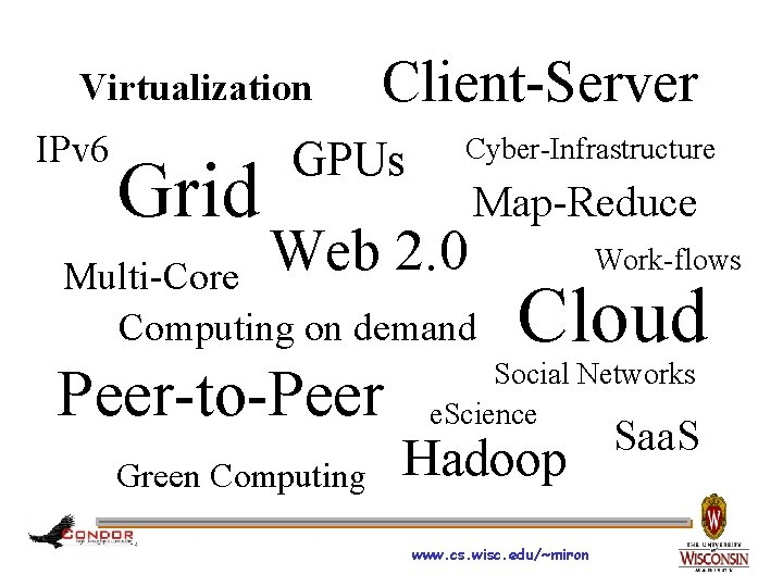 Virtualization IPv 6 Grid Client-Server GPUs Cyber-Infrastructure Web 2. 0 Map-Reduce Multi-Core Computing on
