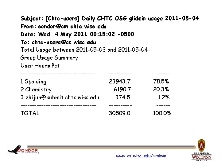 Subject: [Chtc-users] Daily CHTC OSG glidein usage 2011 -05 -04 From: condor@cm. chtc. wisc.