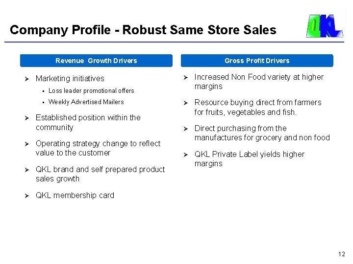 Company Profile - Robust Same Store Sales Revenue Growth Drivers Ø Ø Ø Gross
