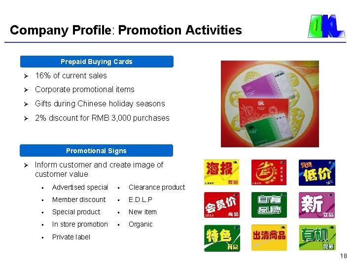Company Profile: Promotion Activities Prepaid Buying Cards Ø 16% of current sales Ø Corporate