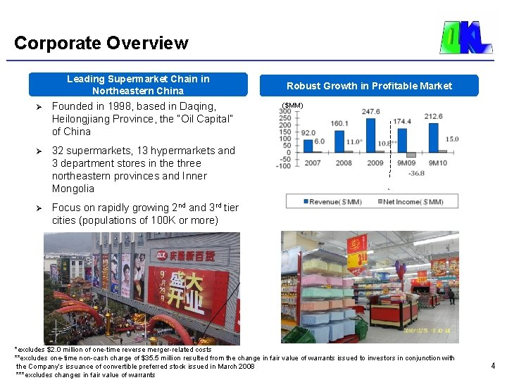 Corporate Overview Leading Supermarket Chain in Northeastern China Ø Founded in 1998, based in