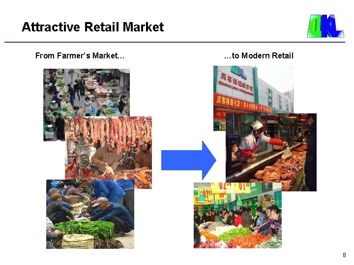 Attractive Retail Market From Farmer's Market… …to Modern Retail 8