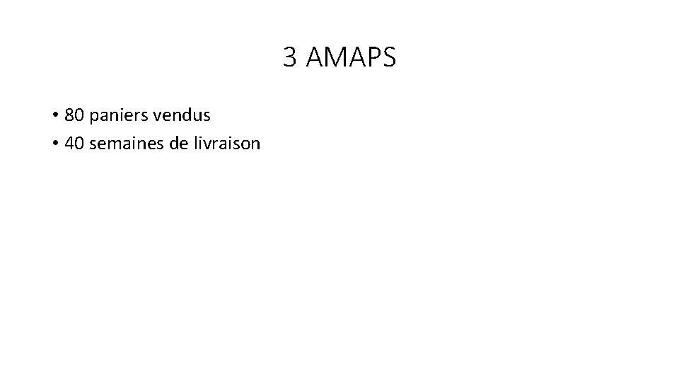 3 AMAPS • 80 paniers vendus • 40 semaines de livraison