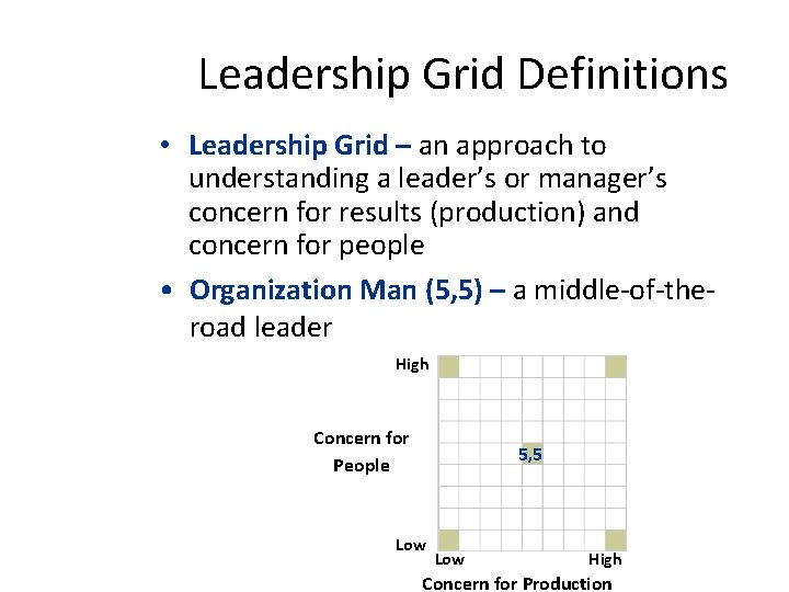 Leadership Grid Definitions • Leadership Grid – an approach to understanding a leader's or