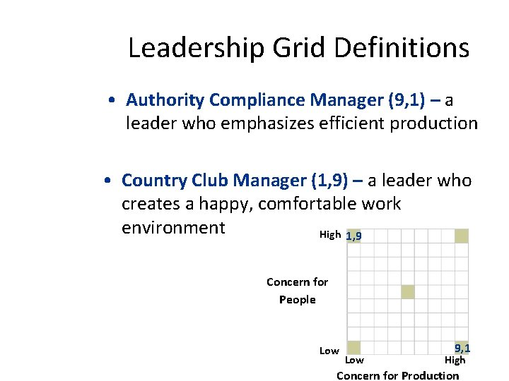 Leadership Grid Definitions • Authority Compliance Manager (9, 1) – a leader who emphasizes