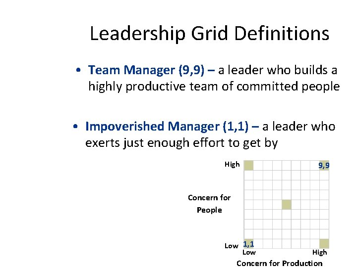 Leadership Grid Definitions • Team Manager (9, 9) – a leader who builds a