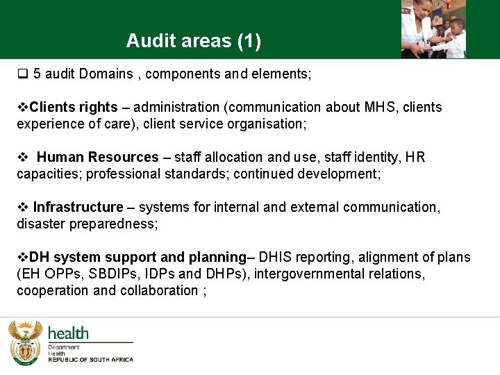 Audit areas (1) q 5 audit Domains , components and elements; v. Clients rights