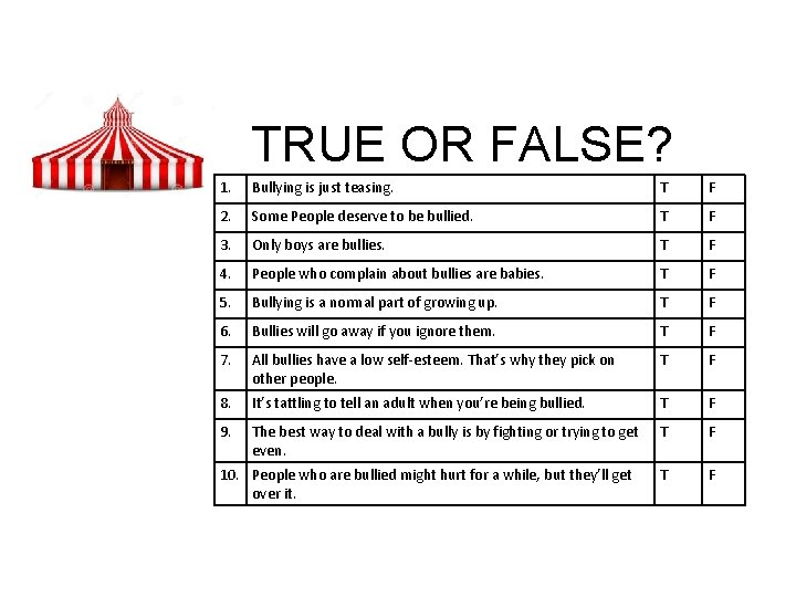TRUE OR FALSE? 1. Bullying is just teasing. T F 2. Some People deserve