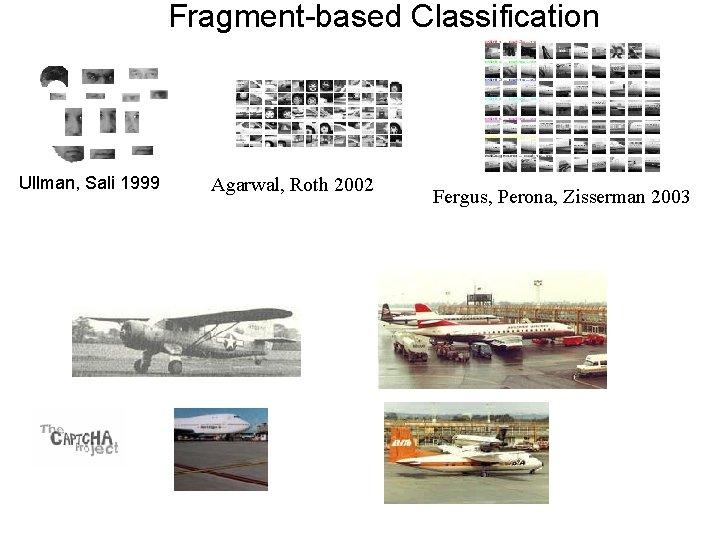 Fragment-based Classification Ullman, Sali 1999 Agarwal, Roth 2002 Fergus, Perona, Zisserman 2003