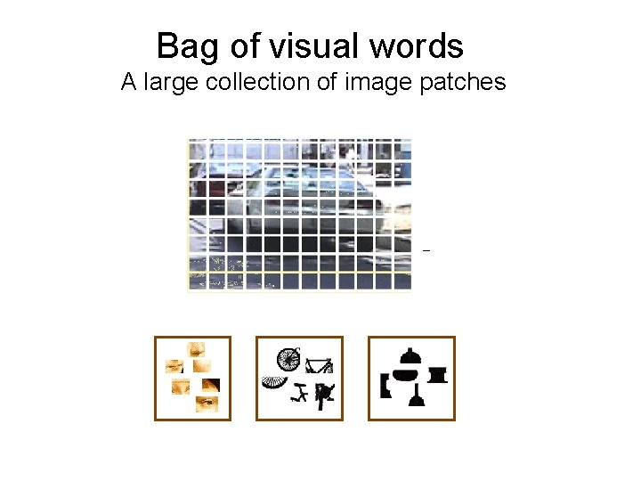 Bag of visual words A large collection of image patches –