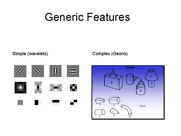 Generic Features Simple (wavelets) Complex (Geons)