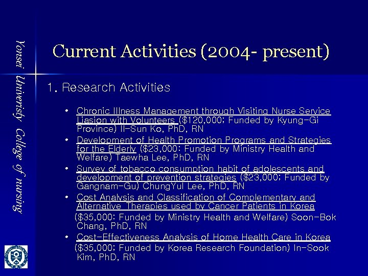 Yonsei Univeristy College of nursing Current Activities (2004 - present) 1. Research Activities •