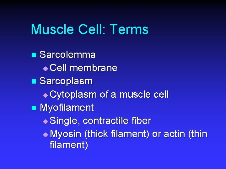Muscle Cell: Terms Sarcolemma u Cell membrane n Sarcoplasm u Cytoplasm of a muscle