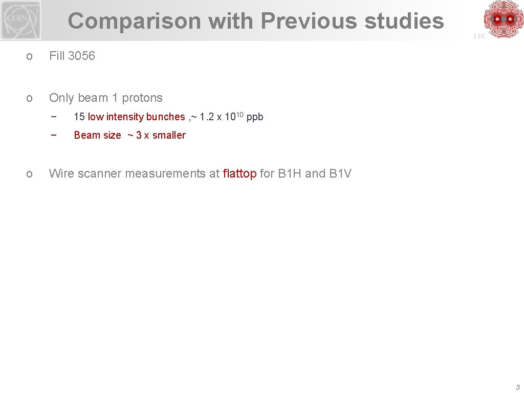Comparison with Previous studies o Fill 3056 o Only beam 1 protons o −