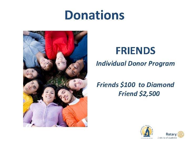Donations FRIENDS Individual Donor Program Friends $100 to Diamond Friend $2, 500
