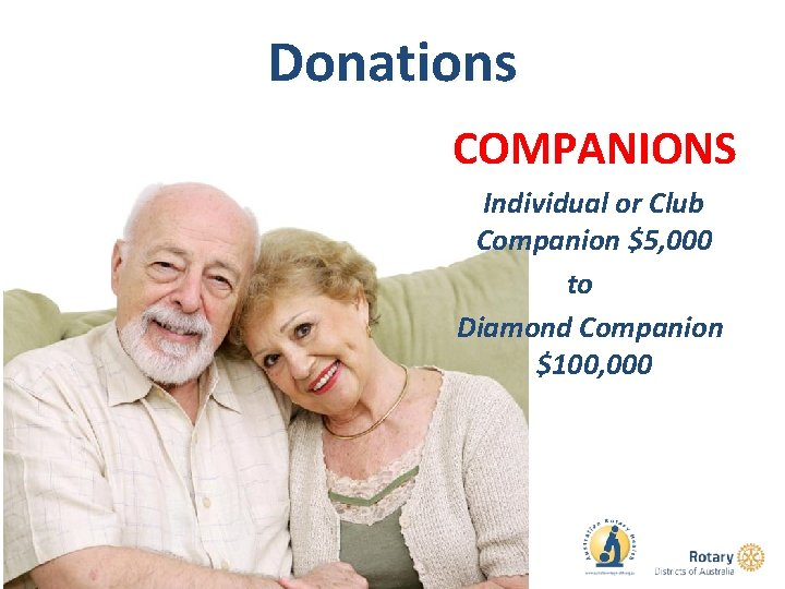 Donations COMPANIONS Individual or Club Companion $5, 000 to Diamond Companion $100, 000
