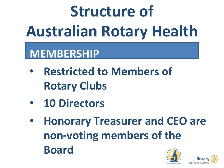 Structure of Australian Rotary Health MEMBERSHIP • Restricted to Members of Rotary Clubs •