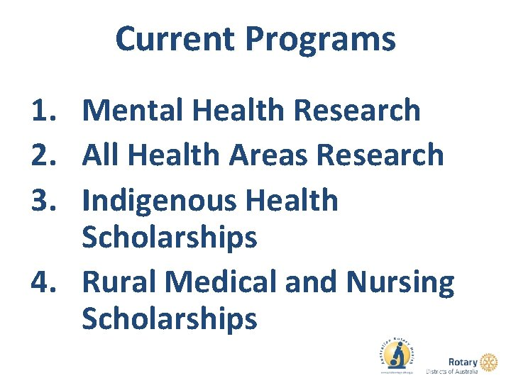 Current Programs 1. Mental Health Research 2. All Health Areas Research 3. Indigenous Health