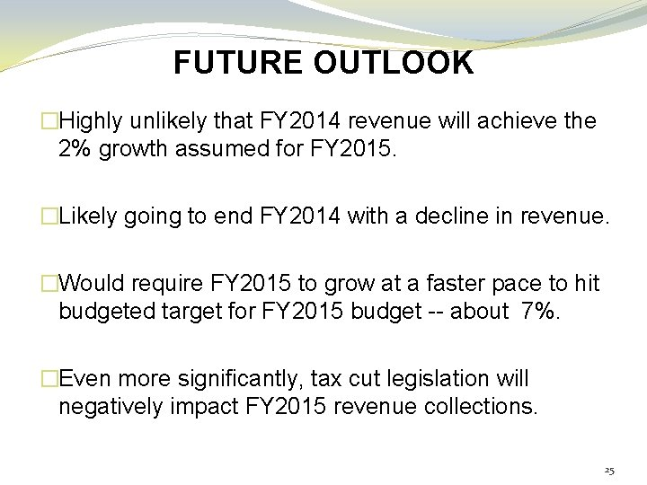 FUTURE OUTLOOK �Highly unlikely that FY 2014 revenue will achieve the 2% growth assumed