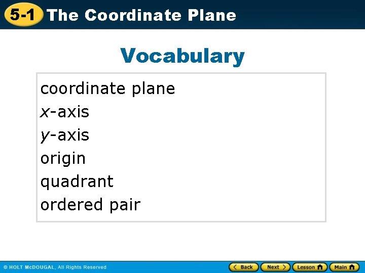 5 -1 The Coordinate Plane Vocabulary coordinate plane x-axis y-axis origin quadrant ordered pair